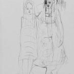 o. T.  2007, Kugelschreiber auf Bütten, 42 x 30 cm