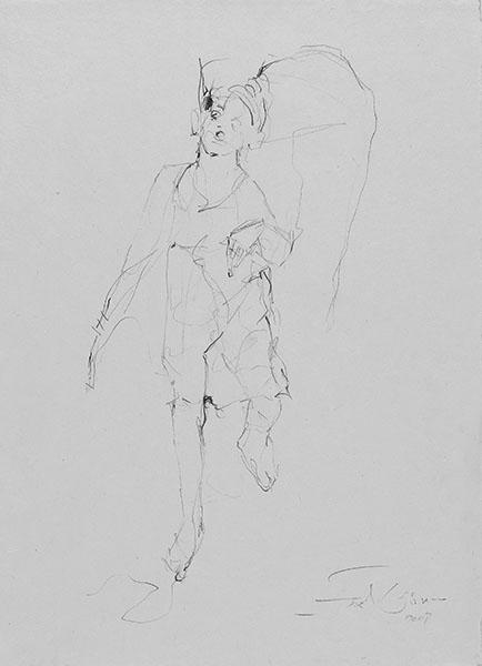 o.T.  2008, Bleistift auf Buetten, 42 x 30 cm