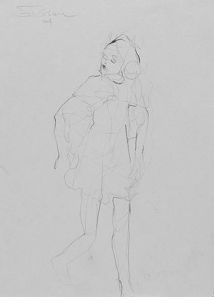 o.T.  2009, Bleistift auf Buetten, 42 x 30 cm