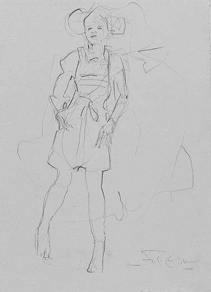 o. T.  2010, Bleistift auf Buetten, 42 x 30 cm