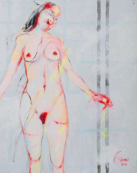 Die Heilige  2012, Acryl, Schlagmetall auf Leinwand, 100 x 80 cm
