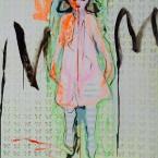 Das fremde Kind, Acryl, Asphalt, Schlagmetall auf Leinwand, 200 x 150 cm